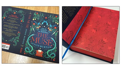 The Muse hardback cover and endpapers