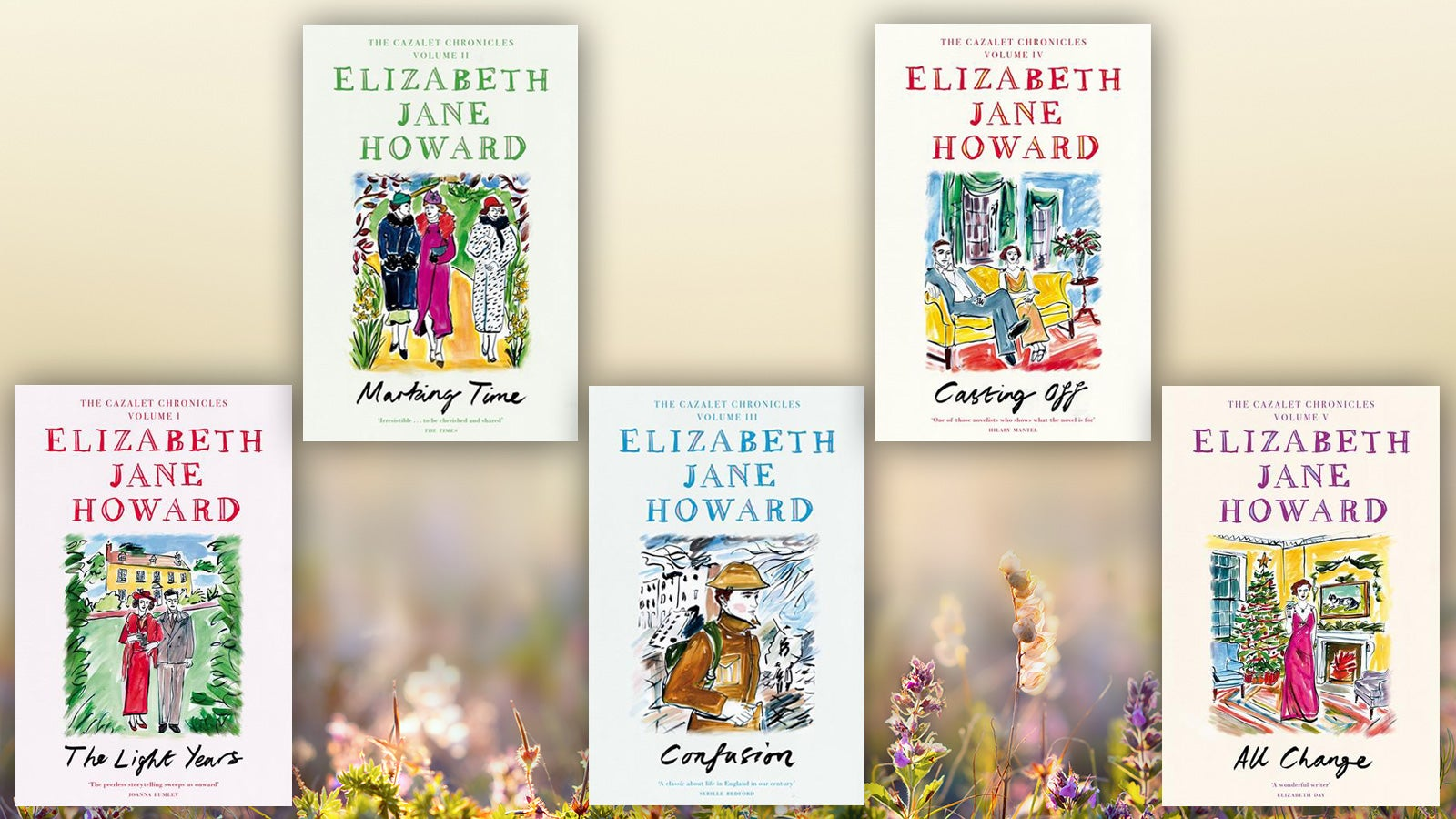 The covers of the five Cazalet Chronicles books by Elizabeth Jane Howard, against a background of wildflowers