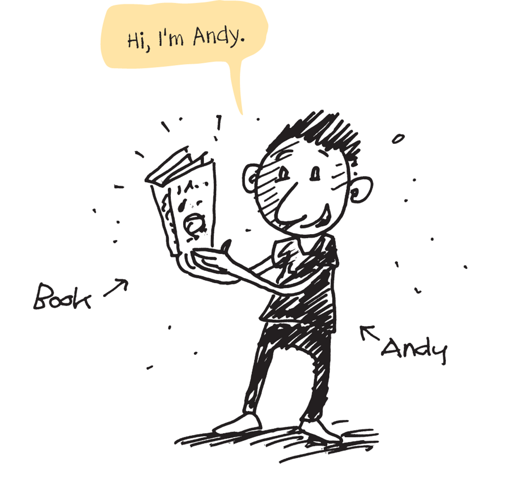 Hi, I'm Andy - illustration of Andy reading a book
