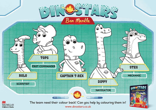 Dinostars colouring sheet