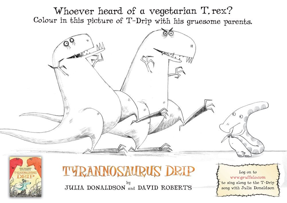Colouring sheet showing 3 dinosaurs from Tyrannosaurus Drip!