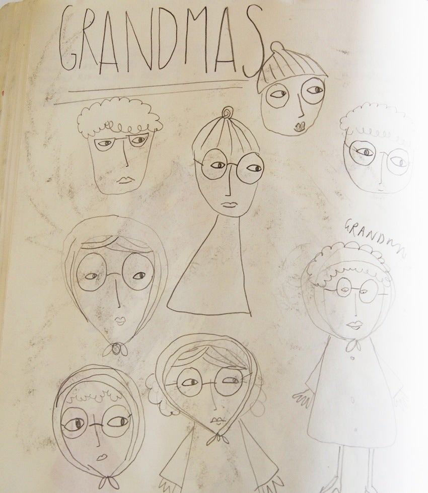 one page showing many early drafts of Grandma illustrations