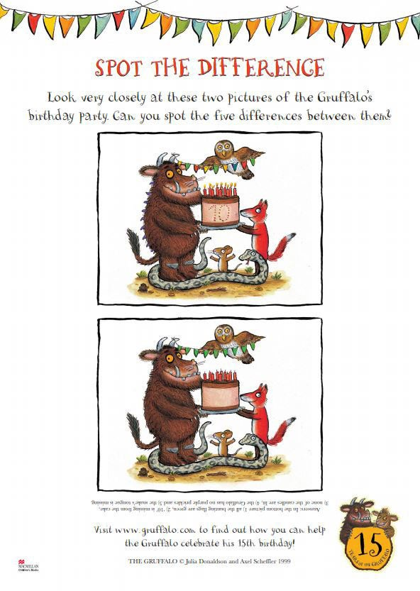 Activity sheet - spot the difference - The Gruffalo - Julia Donaldson - Axel Scheffler