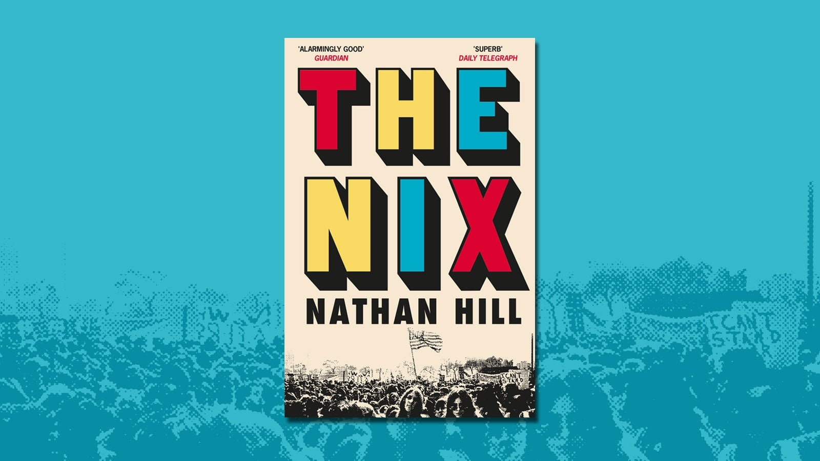 Book cover of The Nix on a blue background