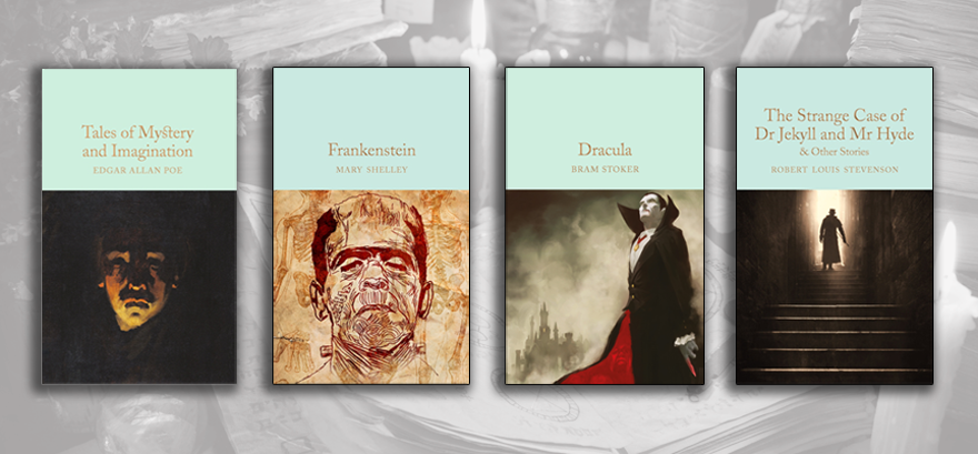 Tales of Mystery and Imagination, Frankenstein, Dracula and The Strange Case of Doctor Jekyll and Mr Hyde book covers