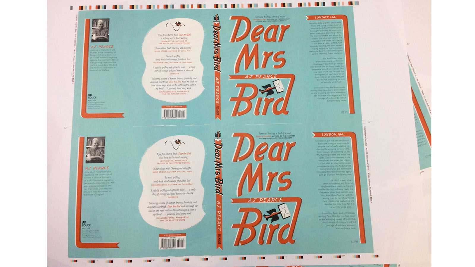 Finished copies of Dear Mrs Bird's book jacket fresh out of the printer.