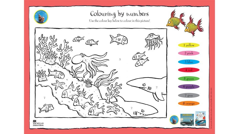 Activity sheet - colouring by numbers - The Snail and the Whale - Julia Donaldson - Axel Scheffler