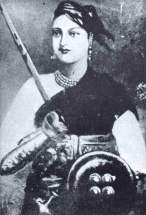 Black and white illustration of Rani of Jhansi wielding a sword and shield