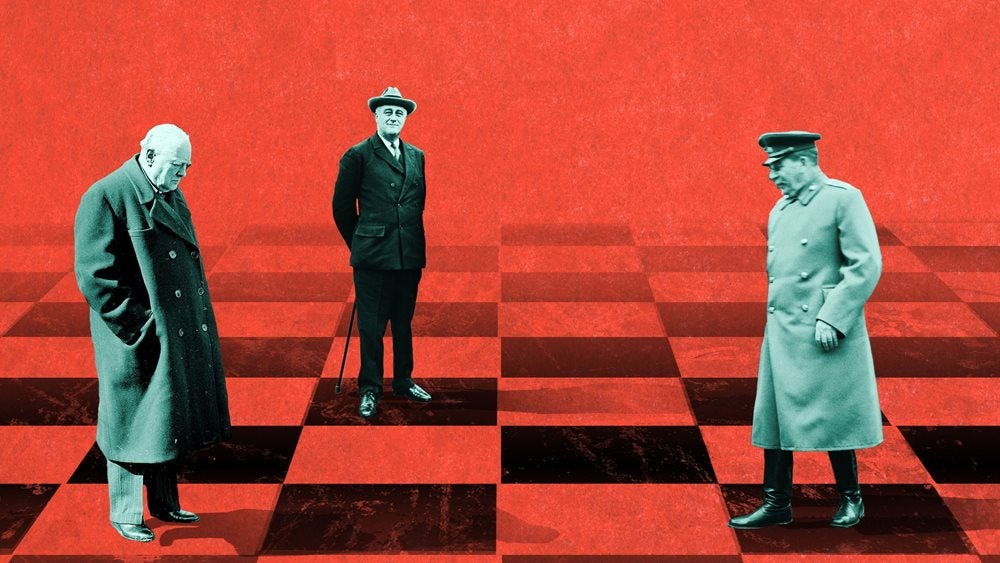 Winston Churchill, Roosevelt and Stalin on a red chess board