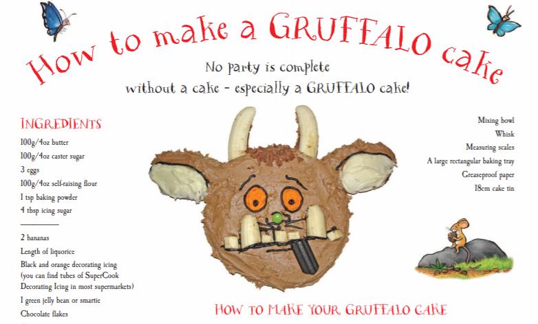 Chocolate Gruffalo face cake with recipe instructions