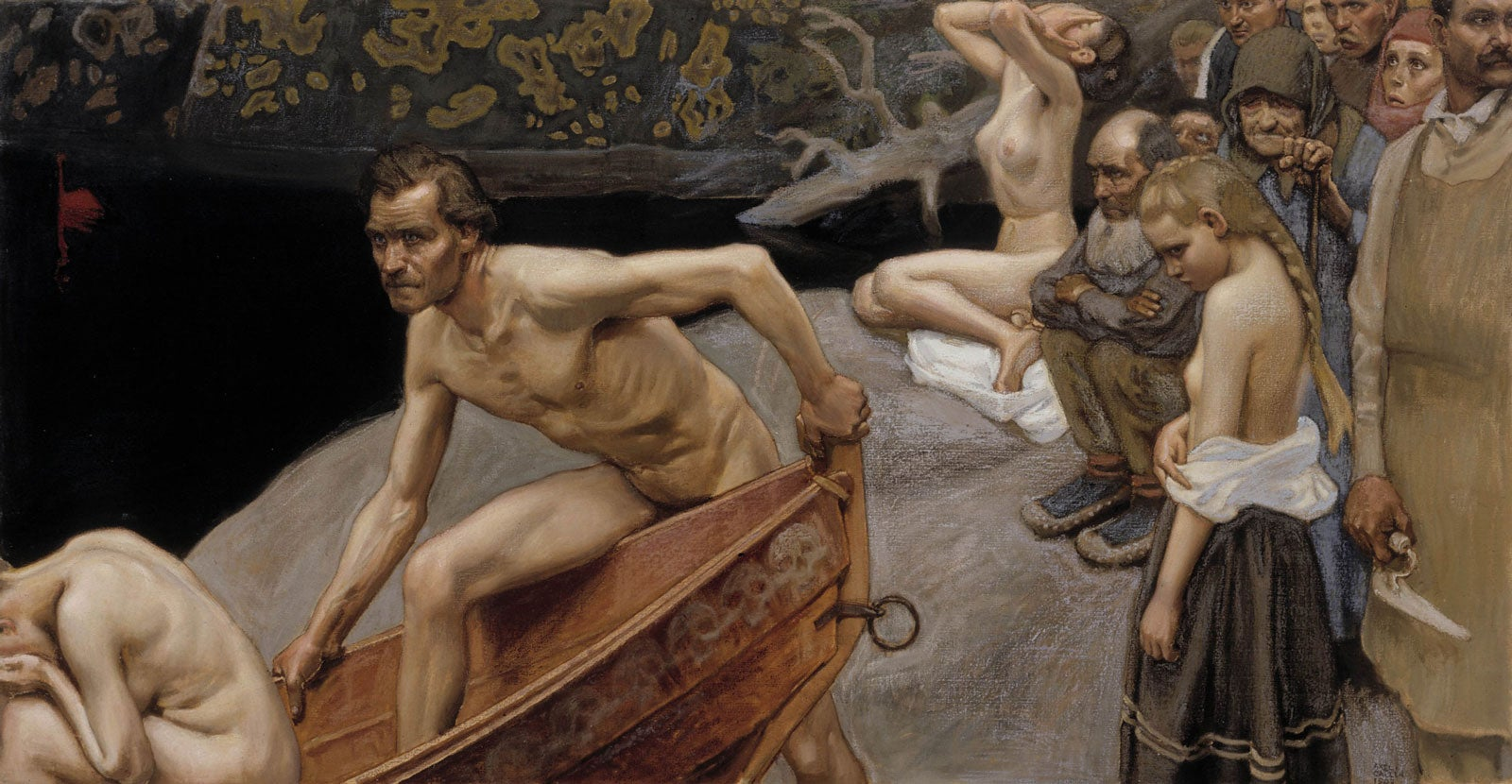 A painiting, showing a naked man climbing into a boat which rests on a dark river. bending him on the banks is a crowd of desolate people waiting