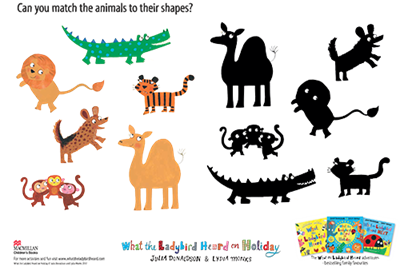 Activity sheet - match the animals - What the Ladybird Heard on Holiday - Julia Donaldson - Lydia Monks