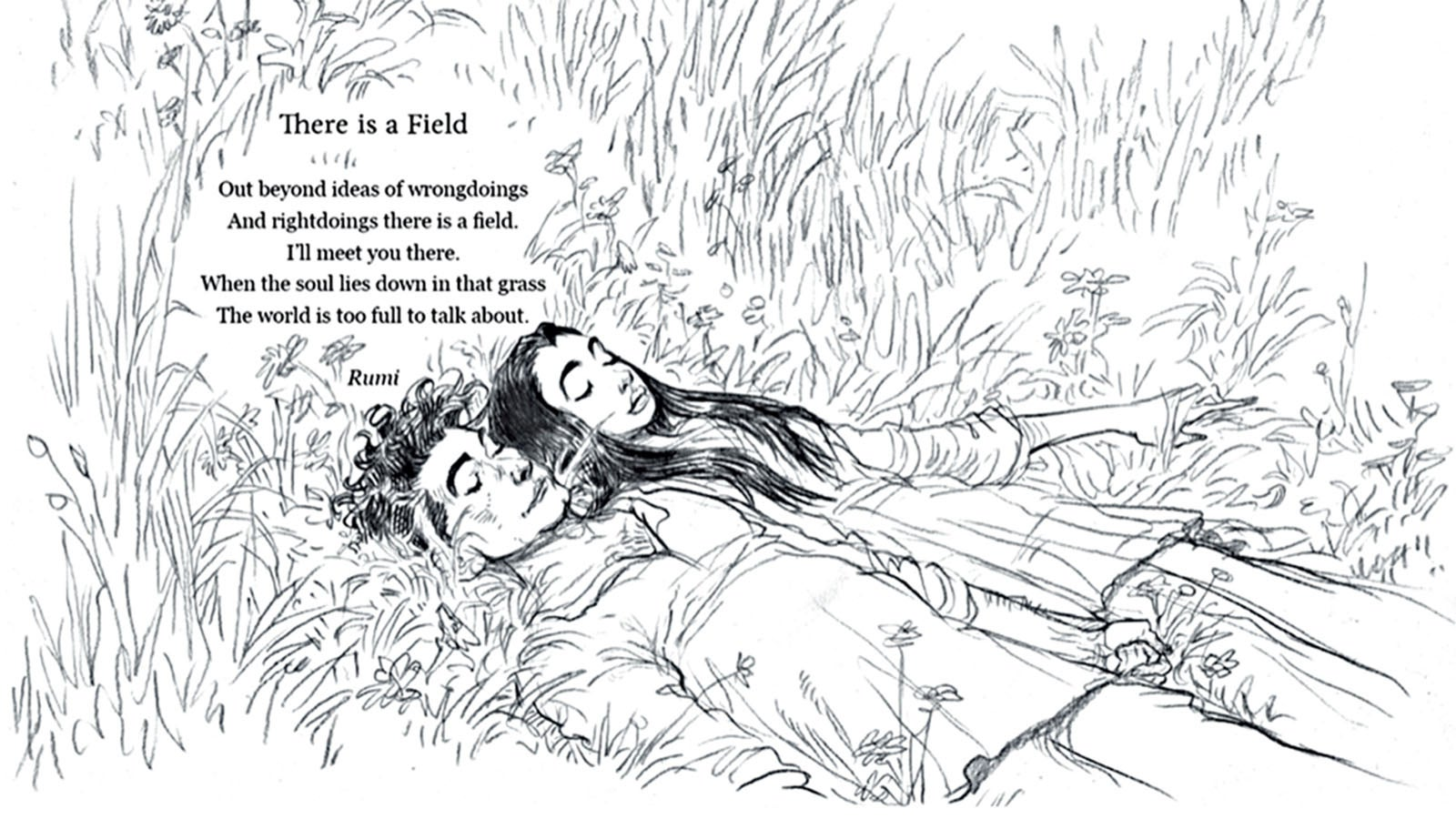 Illustration of There is a field from Poems to Live Your Life By