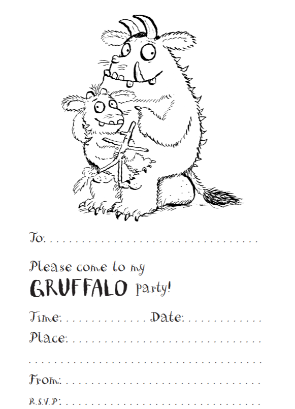 a party invitation in black and white showing a picture of the Gruffalo's Child sitting on the Gruffalo's knee