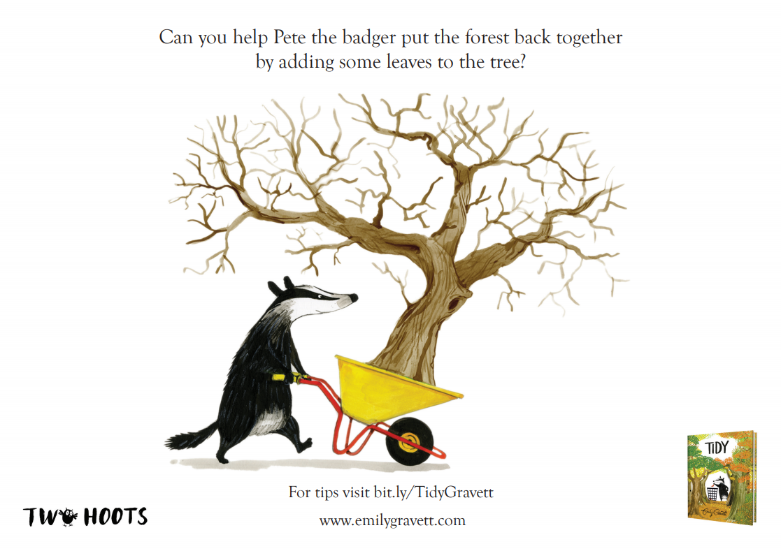 A badger carrying a wheelbarrow with a tree in it - the tree has no leaves, ready for finger painting