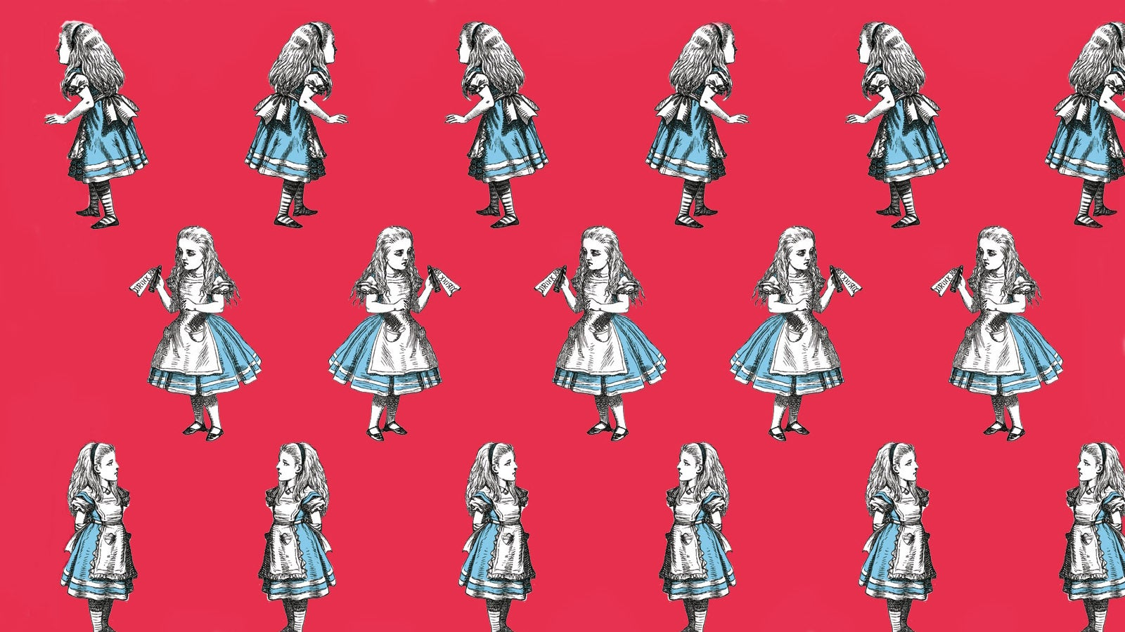 Alice in Wonderland illustrations on a red background