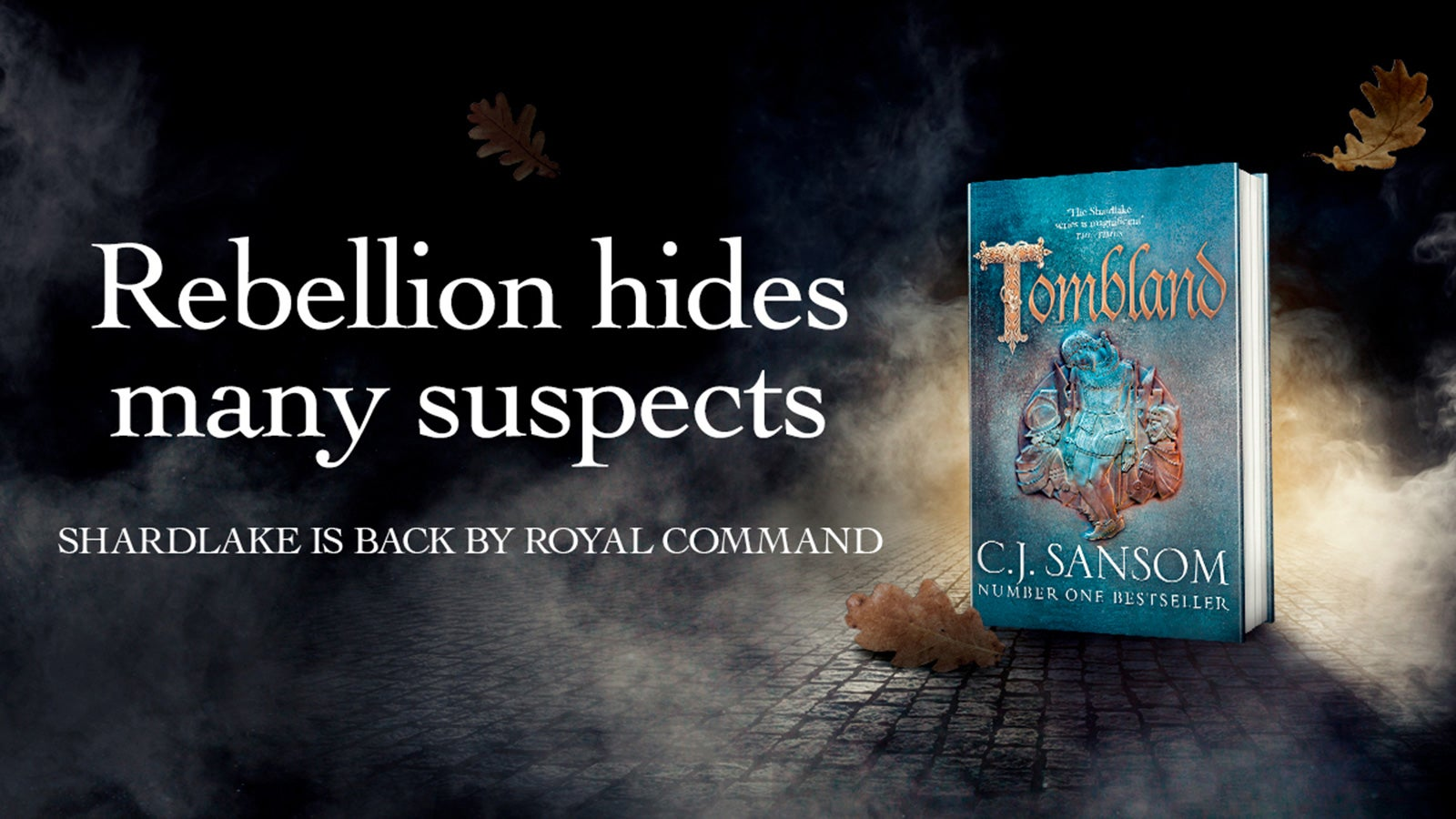 Tombland book cover next to the words 'Rebellion hides many suspects'