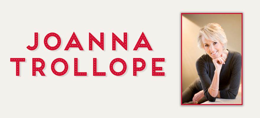 Headshot of Joanna Trollope and her name written in red
