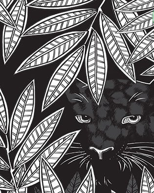 Illustration of Bagheera hiding in leaves