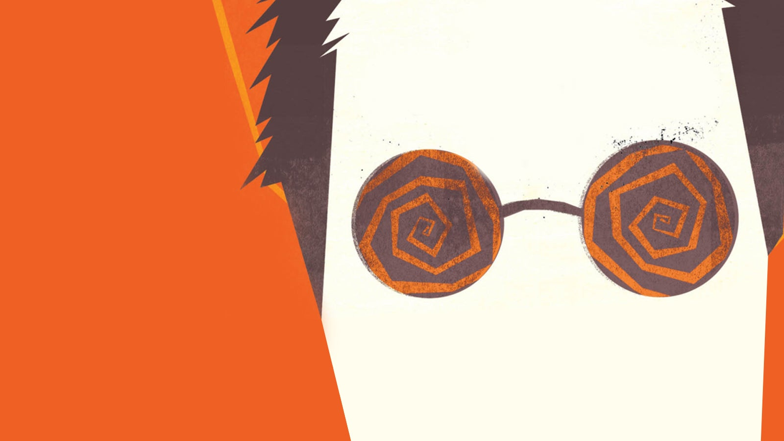 Illustration taken from the front cover of The Psychopath Test showing a man wearing glasses with spirals on the lenses