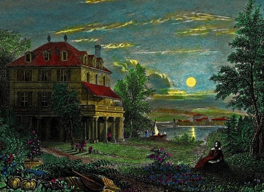 A dark painting of an old house with a lake in front of it and gardens in the foreground
