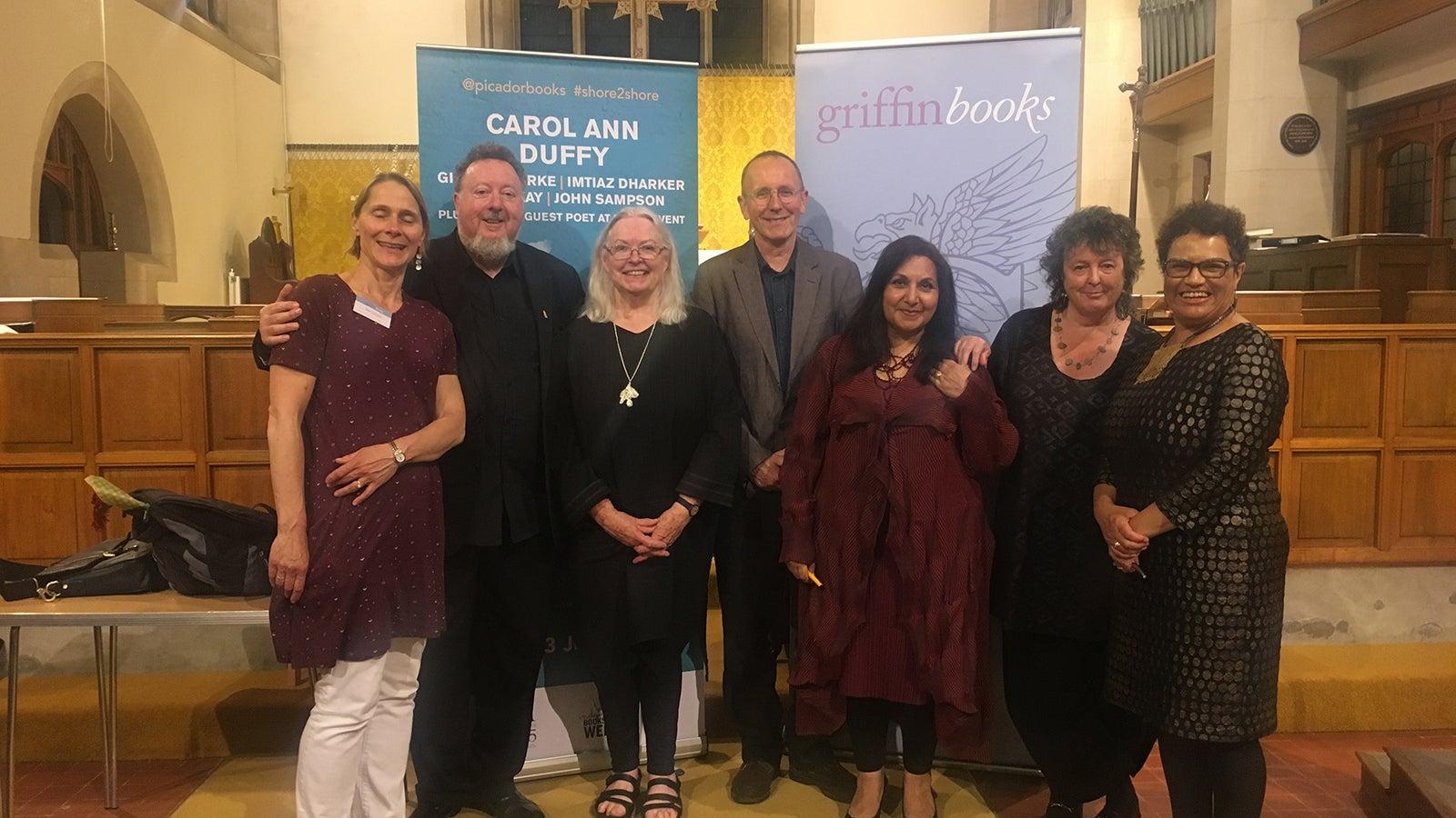 Mel Griffin of Griffin Books, John Sampson, Gillian Clarke, guest poet Stephen Payne, Imtiaz Dharker, Carol Ann Duffy, Jackie Kay