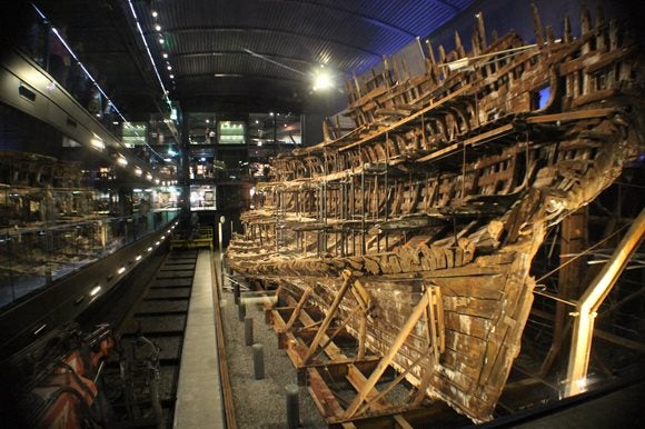 The Mary Rose pulled from the sea and now housed in a museum.