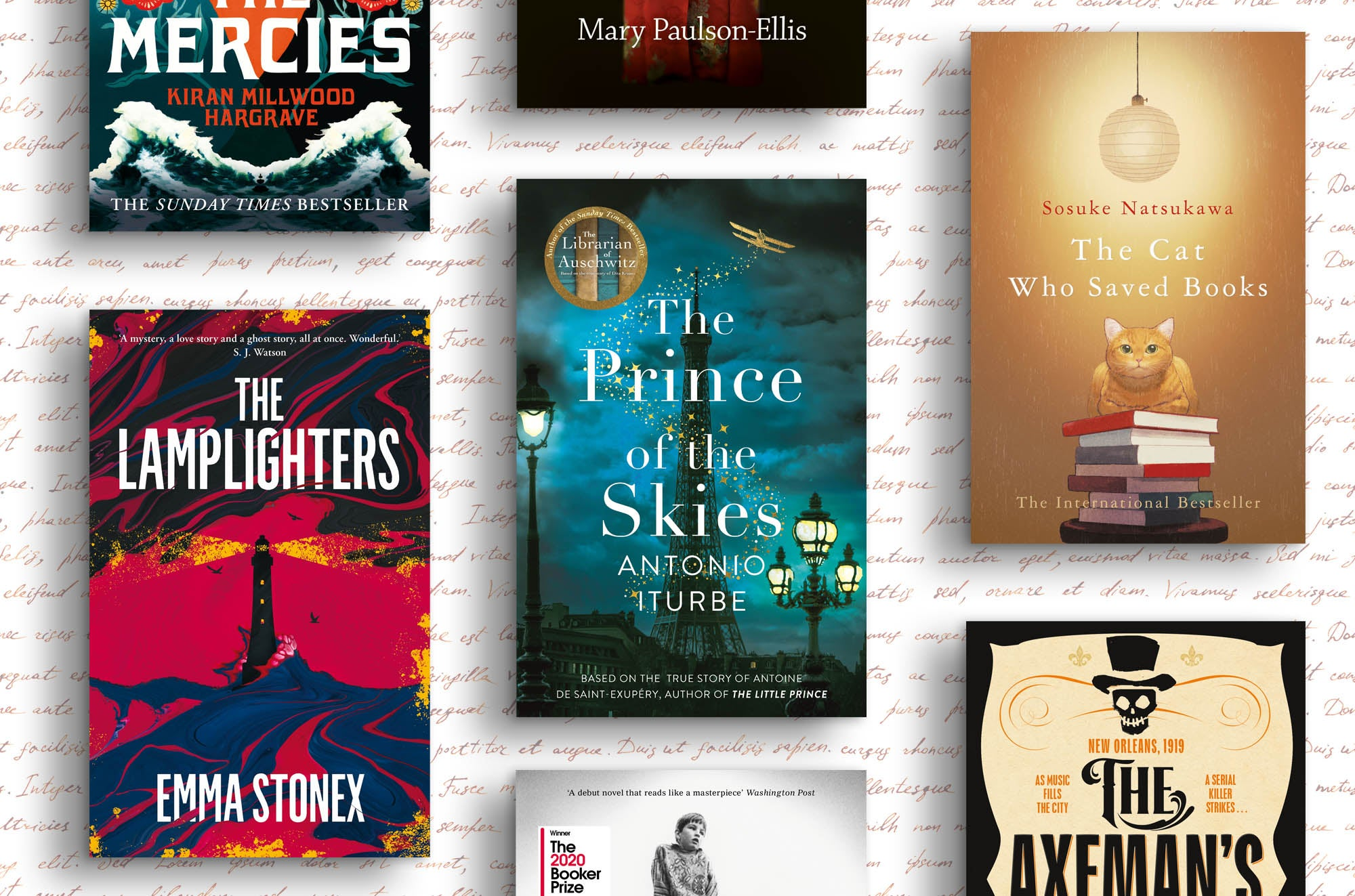Multiple books against a paper background, including The Lamplighters, The Prince of the Skies, and The Cat Who Saved Books