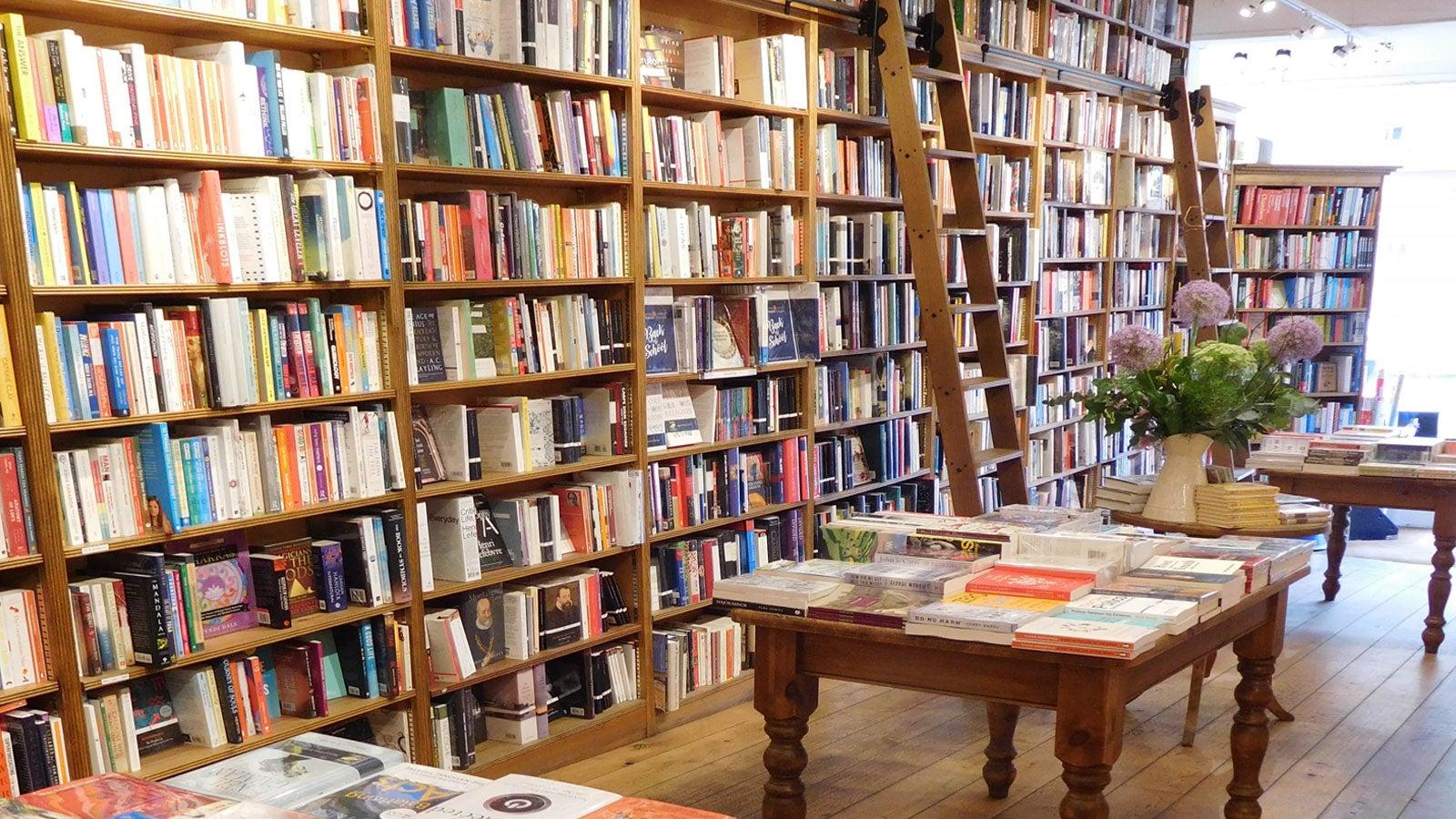 Interior of Topping & Co bookshop showing full shelves of books