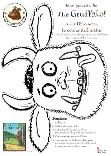 A picture of The Gruffalo's face in black and white for kids to colour-in and use as a mask, with instructions