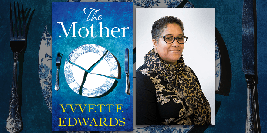 Yvvette Edwards headshot and The Mother book cover