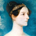 head and shoulders painting of ada lovelace with a blue background