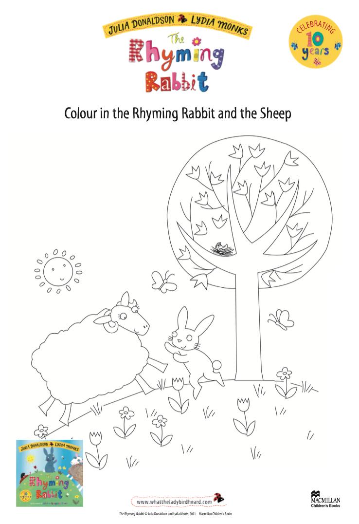 Activity Sheet - Colouring sheet - The Rhyming Rabbit - Julia Donaldson - Lydia Monks
