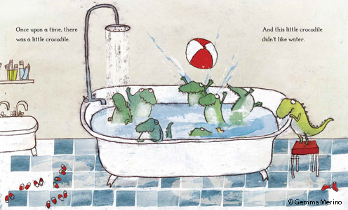 Illustrated spread from The Crocodile Who Didn't Like Water