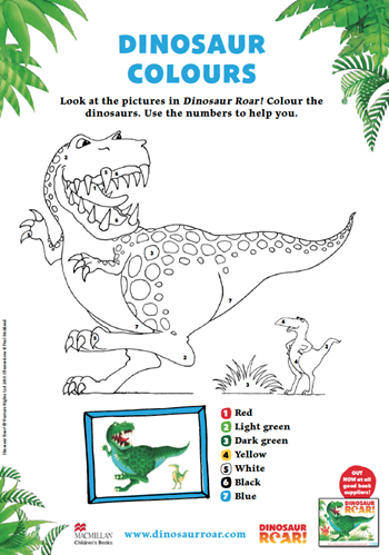 Colouring sheet showing a big t-rex