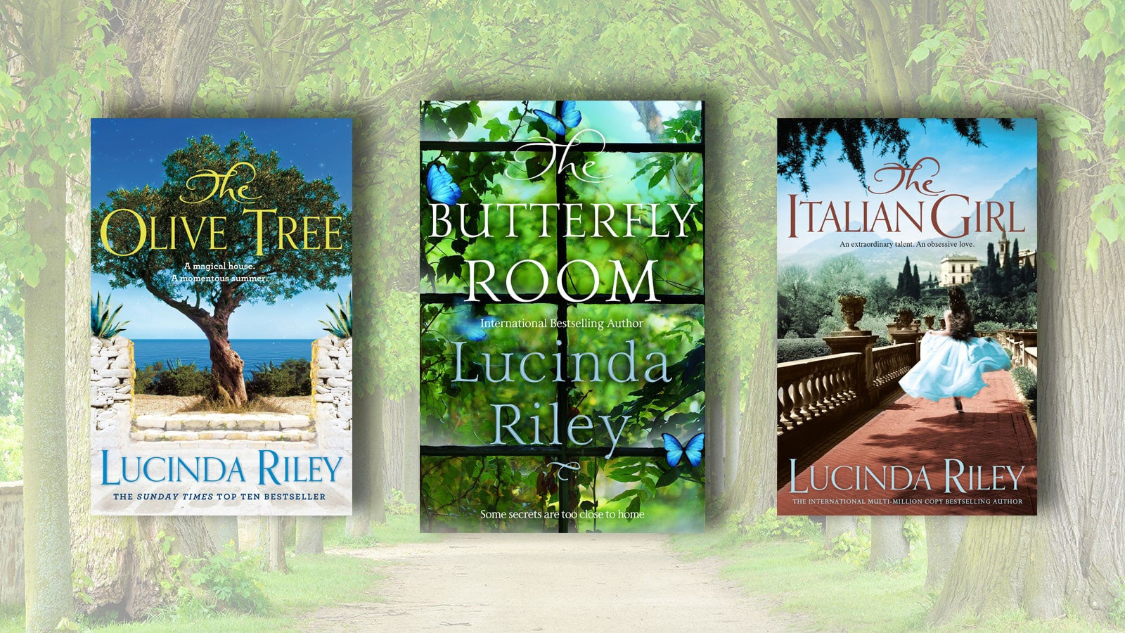 Book covers of the Olive Tree, The Butterfly Room and The Italian Girl on a background of a faded forest