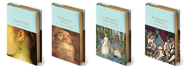 Books pictured include Twelfth Night, The Merchant of Venice, A Midsummer Night's Dream and The Taming of the Shrew.