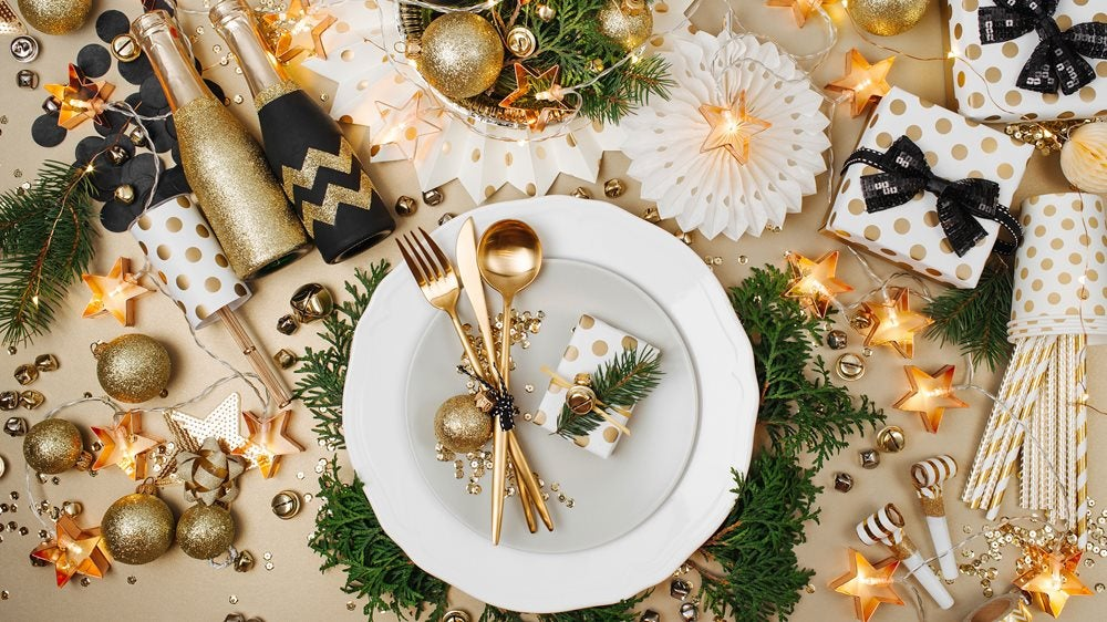A beautifully decorated Christmas dinner table