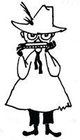 Black and white drawing of Snufkin playing a harmonica