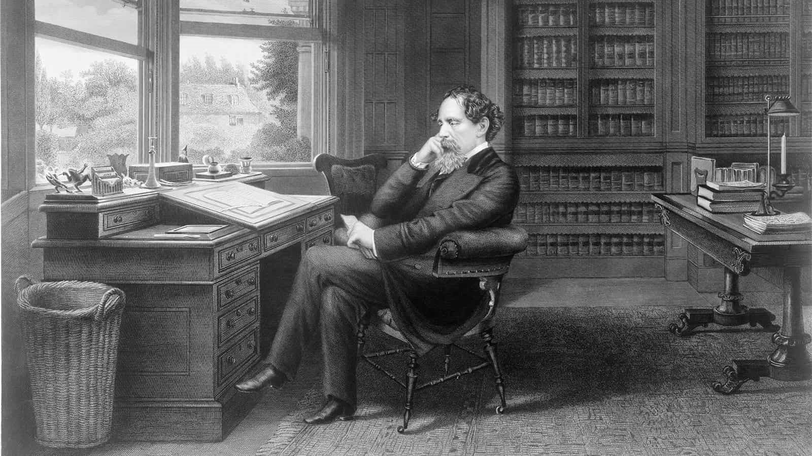 Black and white drawing of Charles Dickens sat at his desk