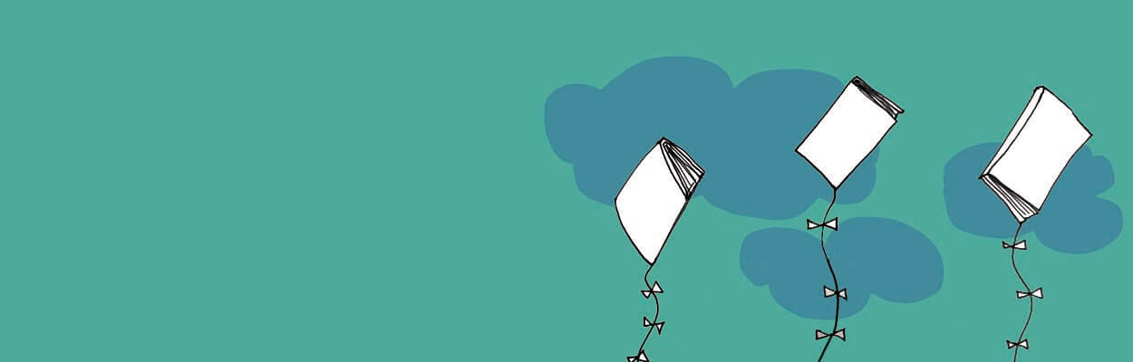 Illustration of three books tied on kite strings flying among the clouds.