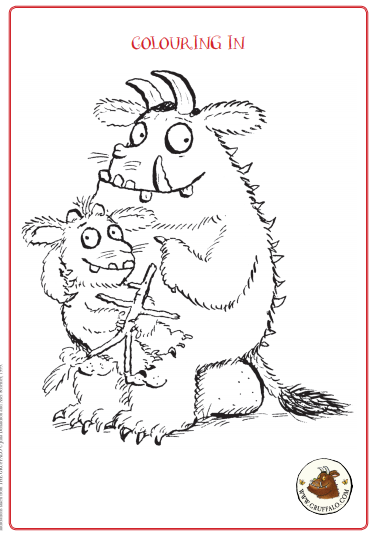 Black and white drawing of The Gruffalo and the Gruffalo's child sitting on his knee for colouring in