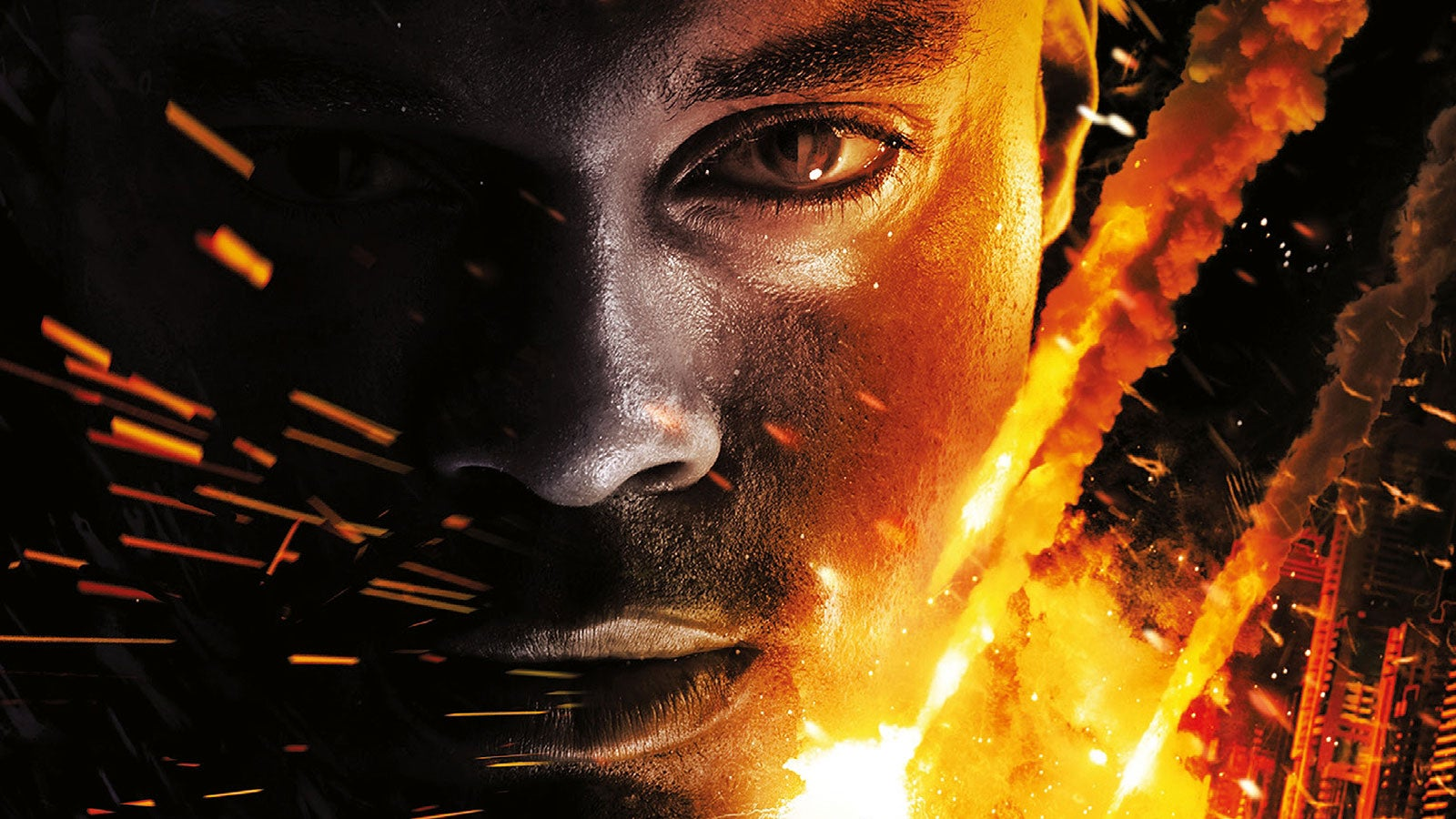A man's face with sparks of fire. Image taken from The Void Trilogy book covers.