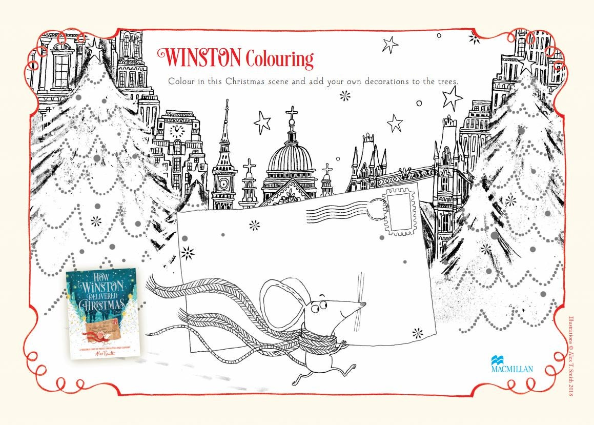 How Winston Delivered Christmas colouring sheet