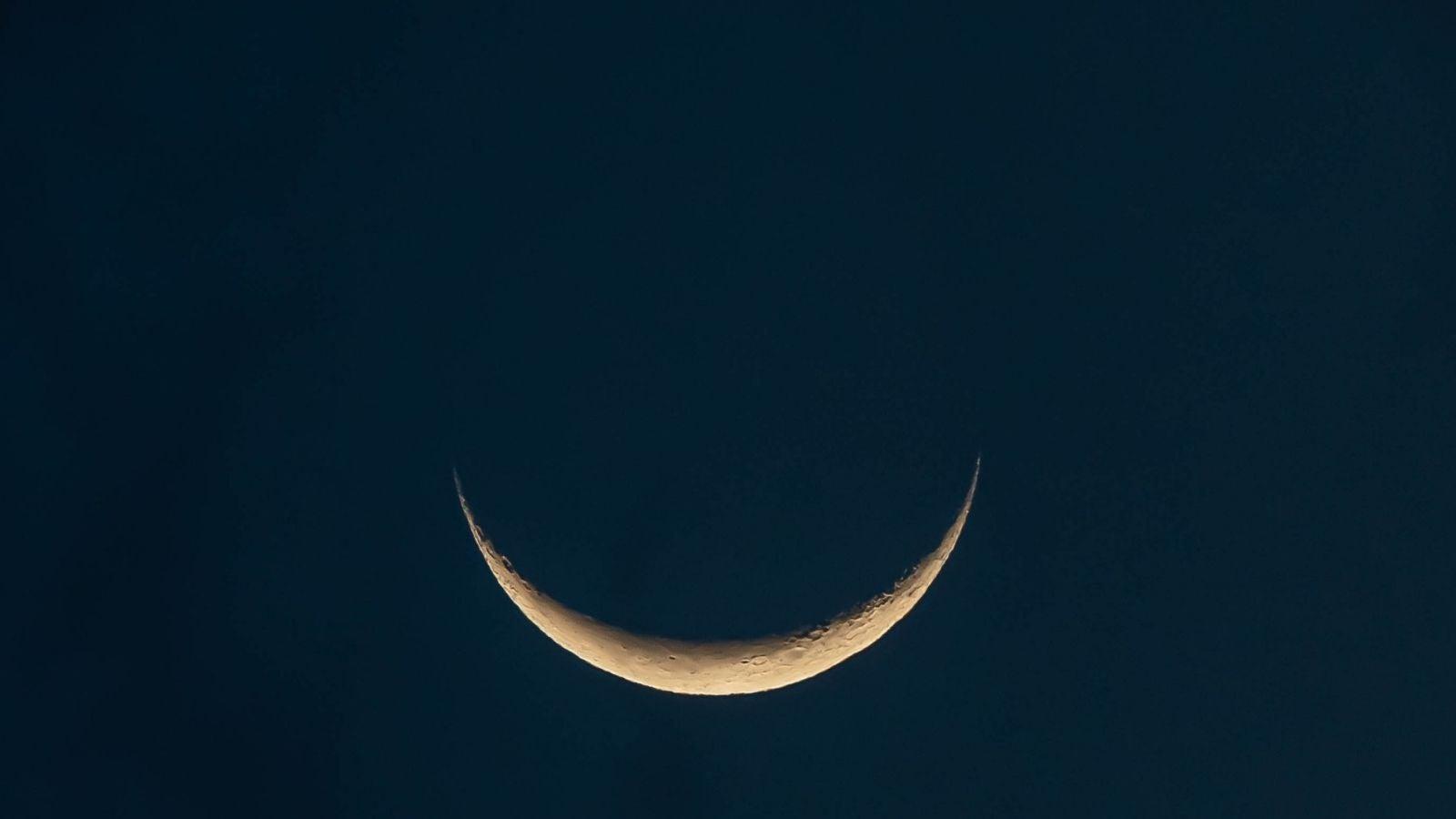 New moon at night