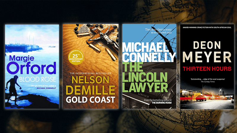 Cover images for Blood Rose, Gold Coast, The Lincoln Lawyer and Thirteen Hours