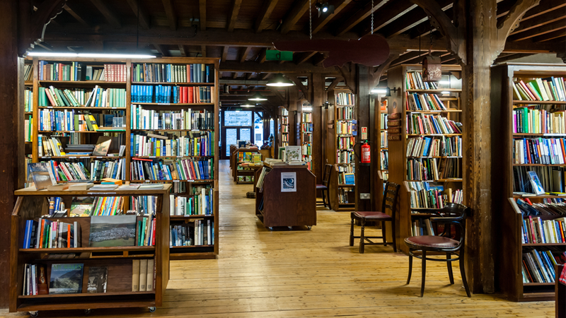Interior of the Richard Booth's bookshop in Hay-on-Wye