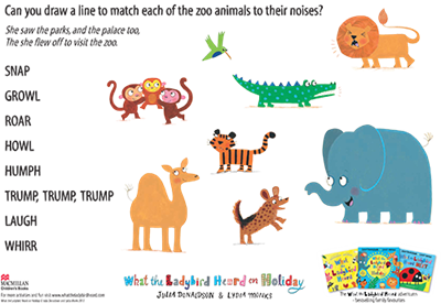 Activity sheet - match the animal sounds - What the Ladybird Heard on Holiday - Julia Donaldson - Lydia Monks