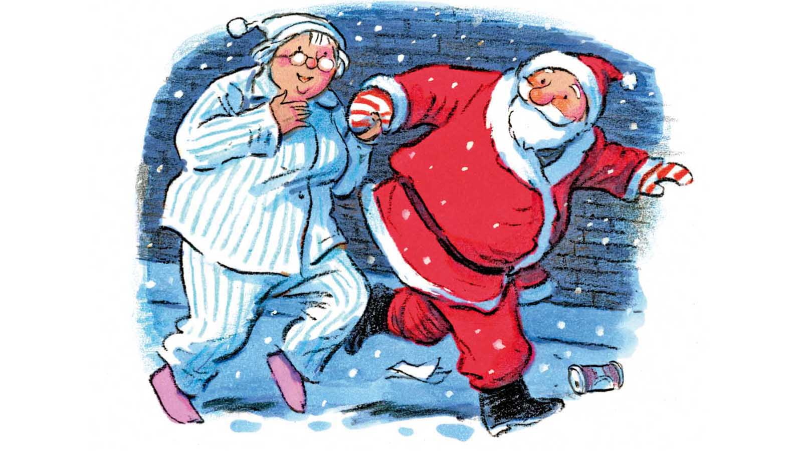 Illustration of Mrs Scrooge in her pajamas sneaking out with Father Christmas in the snow. Taken from Carol Ann Duffy's Mrs Scrooge.
