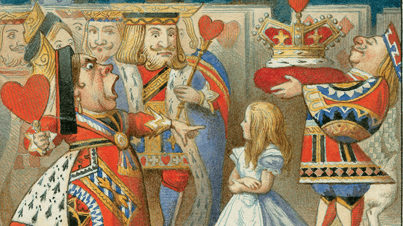 Illustration of Queen of Hearts, King of Hearts and Alice